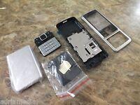 Cover für Nokia 6300 Mittelgehäuse Akkudeckel mit Original Tastatur Silber NEU