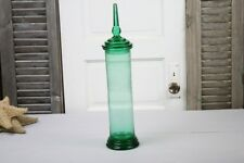 Antique Green Glass Apothecary Jar Cylinder Canister Tall  Column Base Barbers
