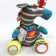 Dolce Activity Zebra Interactive Educational Sensory Stuffed Animal Plush Toy