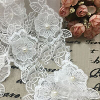 10pcs Pearl Flower Embroidered Lace Trim Bridal Sewing Craft Applique Ribbon DIY