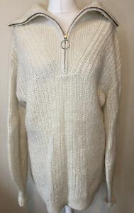 H&M Premium Wool Alpaca Long Zip Collar Chunky Knit Jumper Size S Oversize