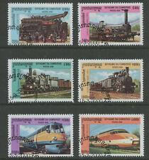 Trains cto set of 6 stamps 2000 Cambodia Steam locomotives railroad
