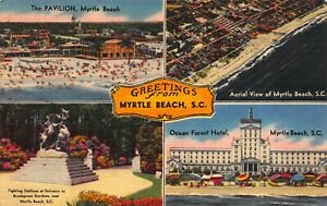 Linen Postcard Multiple Views of Myrtle Beach, South Carolina~123450