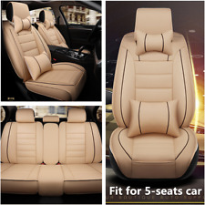 Deluxe Edition Car Seat Cover Cushion Front+Rear 5-Seats PU Leather Accessories