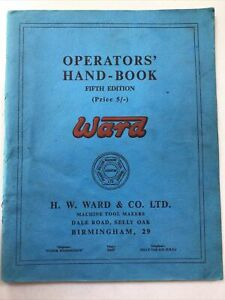 WARD LATHE - OPERATORS HANDBOOK - 1963 - FOR CAPSTAN & TURRET LATHES