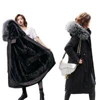 Women's Mid Length Snow Parkas Faux Fur Lined Hooded Collar Outwear Warm Coats L
