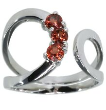 Garnet Gemstone Open Wrap Sterling Silver Ring size K