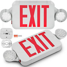 Lit Path Led 4 Pack Exit Sign Combo Emergency Light With 2 Adjustable Lamp