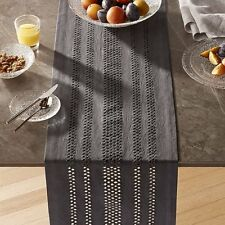 "Crate & and Barrel JEMME GREY Table Runner- 14"" x 90"" NEW- NWOT!"