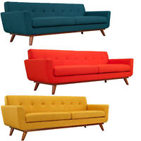 "Mid Century Classic Fabric Sofa 90"" Wide In Bright Red, Azure Blue Citrus Yellow"