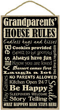 "GRANDPARENTS' HOUSE RULES Primitive Wood Hanging Sign 10"" x 16"""