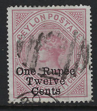 CEYLON : 1885 surcharges 1r12c on 2r50 dull rose SG193 used