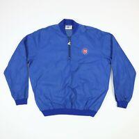 Vtg Chicago Cubs STARTER Nylon Windbreaker Jacket Pullover Blue MEDIUM 80s 90s
