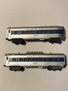 Vintage Lionel Santa Fe Blue Stripe Passenger Car Set 2412 2416 0 Gauge