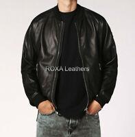 ROXA Stylish Men Genuine Lambskin Real Leather Jacket Handmade Black Biker Coat