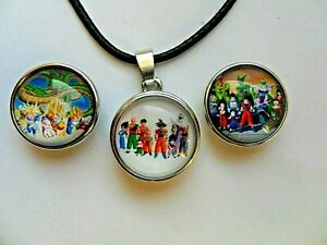 DRAGON BALL Z  Snap Button Glass Dome Necklace with 3 Interchangeable  Buttons