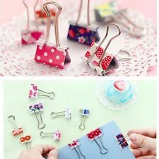 Cute Clips Office File Printed Multiple Stationery Metal Paper Binder 20Pcs