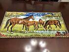 Vintage Tapestry Horses in Field Scene Wall Hanging Table Runner Dresser Scarf
