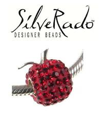 Genuine SilveRado 925 sterling silver BLING RED APPLE crystal charm bead