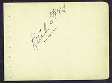 Ruth Ford (d. 2009) signed autograph 4x6 Album Page Actress: Too Much Johnson