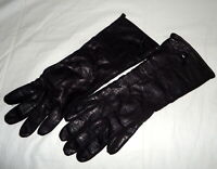 Vtg Black Leather Gloves Driving Women Wool Lined Ladies Japan Large 11.5 Long