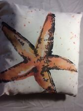 Painted Sealife Starfish Indoor Outdoor Pillow Climaweave Throw Pillow