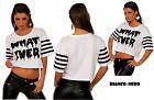 maglietta corta top corto donna stile hip pop puro cotone stampata tg S/M ;M/L