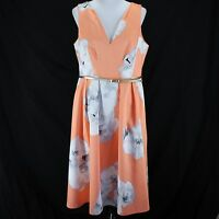 Calvin Klein Dress Sz 16 Peach White Floral Sleeveless Belt Pleated Fit & Flare