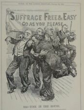 """7x10"""" punch cartoon 1913 RAG TIME IN THE HOUSE suffrage amendment"""