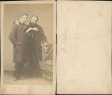 Deux messieurs lisant Vintage CDV albumen carte de visite CDV, tirage albuminé
