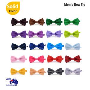 Silk Satin Plain Solid Men's Pretied Bowtie Necktie Tied Wedding Prom Bow Tie