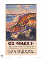 BOURNEMOUTH DORSET RETRO VINTAGE RAILWAY TRAVEL POSTER ADVERTISING HOLIDAY