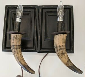 Vintage Western Cattle Horn Wall Sconce Electric Candle Pair