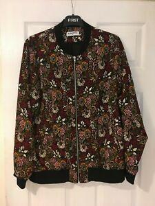 Glamorous women's UK size 16 black red pink floral lightweight jacket