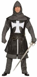 Knight / Crusader Costume 7Pc Slv/Blk Tunic Pants Tabard Boot Top Belt Gloves S
