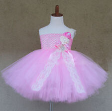 VINTAGE BABY GIRLS FAIRY TUTU DRESS-FLOWER PEARL LACE CRYSTAL WEDDING,PARTY PINK