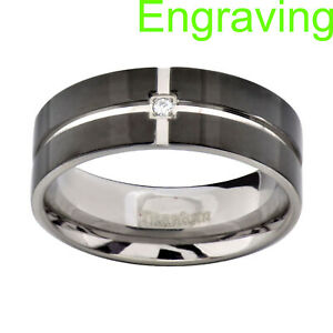 8mm Titanium Flat Top Black Band Grooved Cubic Zirconia Men's Wedding Ring