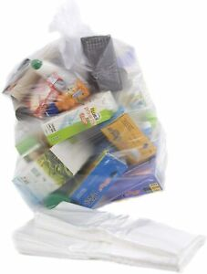 Bin Liners Rubbish Bags Recycling Sack Refuse Strong Size 18x2 x39 L Clear 10Pcs