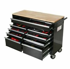 Large Mobile Workbench Tool Chest Cabinet Wooden Work Top Surface Storage Drawer