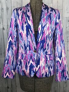LILLY PULITZER Lined SAFFRON ONE TOO MANY AMETHYST Blazer Jacket Size 4 Pink