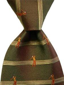 OFF ISLAND Tommy Bahama Silk Necktie Designer STRIPED GOLFING Green/Orange GUC