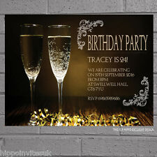 12 x Personalised Birthday Party Invitations Champagne Mens Womens Adult | H0263