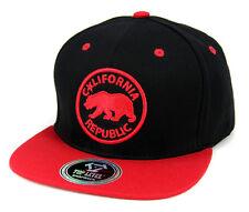 California Republic hat embroidery Baseball cap Snapback Flat Bill -Black/Red