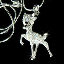 w Swarovski Kristall Bambi Reh Kitz Schmuck Anhänger Halskette Tier Neu niedlich