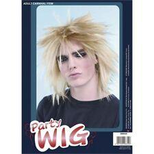 Blonde Men's Spikey Punk Wig - Fancy Dress 80s Male Rock Star Mens Rod Stewart