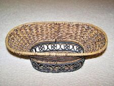 VTG EXCEPTIONAL CAST IRON & WICKER OVAL BASKET - WELL CRAFTED/STURDY - MANY USES