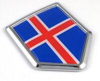 Iceland Flag Emblem Chrome Car Decal 3D Sticker
