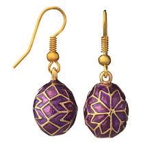Faberge Egg Earrings 0.7'' (1.8 cm) purple #P2-05
