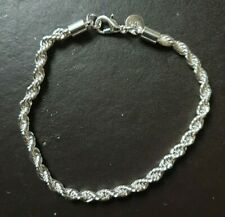 WHOLESALE 925 STERLING SILVER 4MM WIDE TWISTED ROPE BRACELET & FREE GIFTBOX.