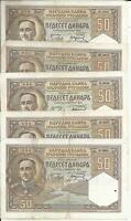 SERBIA- YUGOSLAVIA LOT 5x 50 DINARS 1931  P 28. VF CONDITION. 3RW 30 NOV